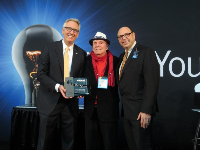 Larry receiving his lifetime award at the NAMM convention in Anaheim.